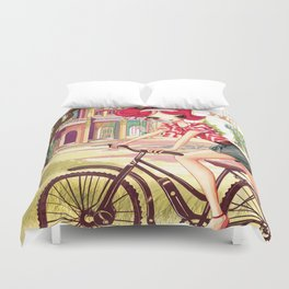 Liselle Cycles to Penang Duvet Cover