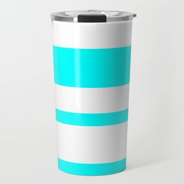 Mixed Horizontal Stripes - White and Aqua Cyan Travel Mug