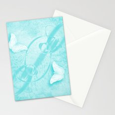 butterflies in abstract landscape in blue Stationery Cards
