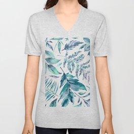 Teal manic botanic Unisex V-Neck