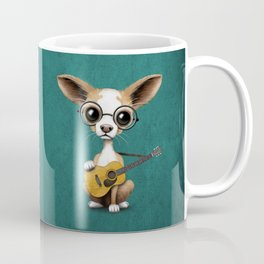 Chihuahua Puppy Dog Playing Old Acoustic Guitar Teal Coffee Mug