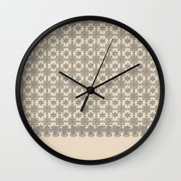 Warm Sepia Crochet Square Lace Pattern Wall Clock