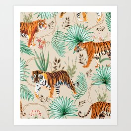 Tropical & Tigers Art Print