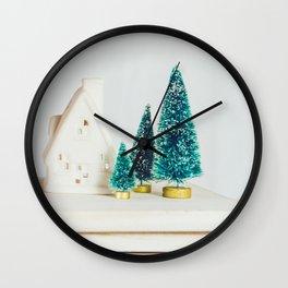 Minimal Christmas Trees (Color) Wall Clock