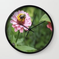 rileigh smirl Wall Clocks featuring Flower and Bee by Rileigh Smirl