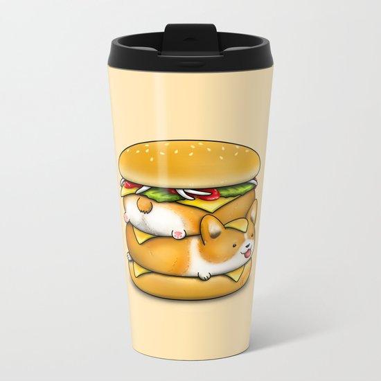 Double Corgi Pounder Metal Travel Mug