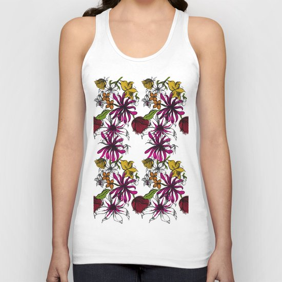 Sketchbook Floral Unisex Tank Top