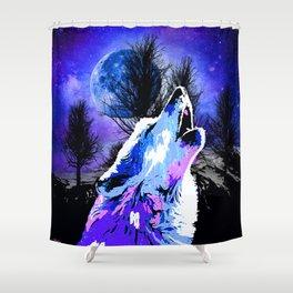 NEBULA WOLF MOON TREE MOUNTAIN SPARKLE Shower Curtain