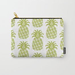 Retro Mid Century Modern Pineapple Pattern Olive Green Carry-All Pouch