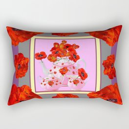 ORANGE POPPIES & PORCELAIN TEA SERVICE FLORAL ART Rectangular Pillow
