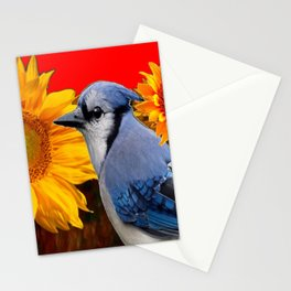 RED SUNFLOWERS  & BLUE JAY ART Stationery Cards