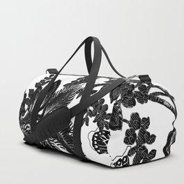 Paisley Jacobean black and White Duffle Bag