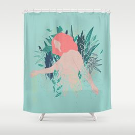 Nude in coral pink going through the garden Shower Curtain