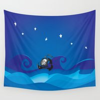 pirate ship Wall Tapestries featuring pirate ship at the sea by mangulica