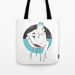 Holly Golightly Gets Breakfast Fashion Illustration Tote Bag