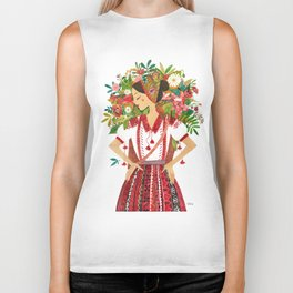 Folk Flower Girl Biker Tank