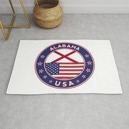 Alabama, Alabama t-shirt, Alabama sticker, circle, Alabama flag, white bg Rug