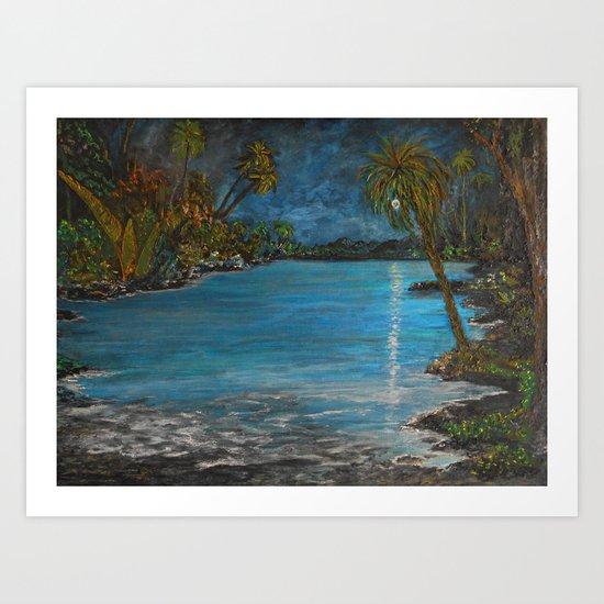 Tropical Moon Reflection II Art Print