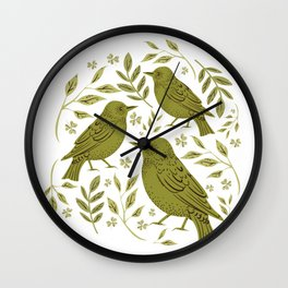 Little Wrens Hiding In The Hedgerow Wall Clock
