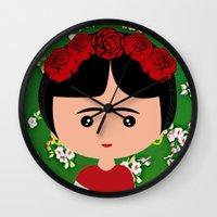 frida kahlo Wall Clocks featuring Frida Kahlo by Creo tu mundo