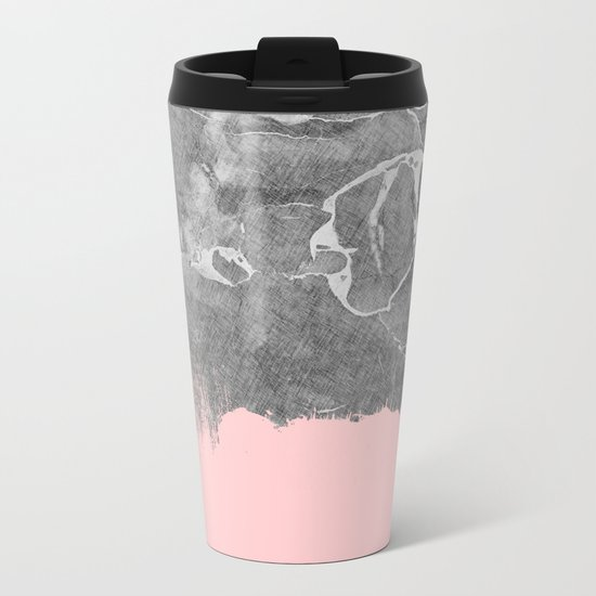 Crayon Marble with Pink Metal Travel Mug