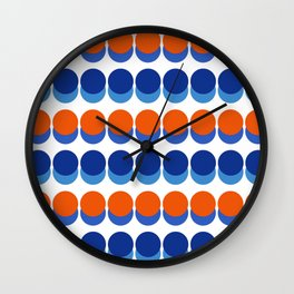 Vibrant Blue and Orange Dots Wall Clock