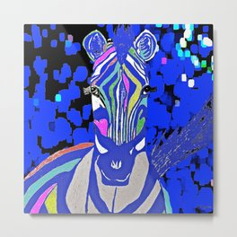 Zebra and Indigo Blue Metal Print
