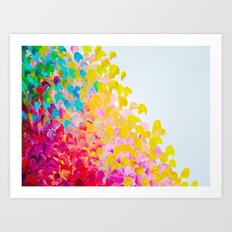CREATION IN COLOR - Vibrant Bright Bold Colorful Abstract Painting Cheerful Fun Ocean Autumn Waves Art Print