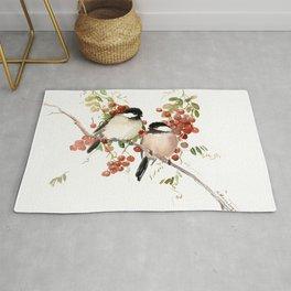 Chickadee Bird Vintage Bird Artwork, two birds, chickadees woodland design Rug