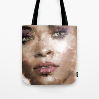 rihanna Tote Bags featuring Rihanna by Dnzsea
