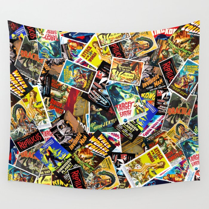 50s Movie Poster Collage #14 Wall Tapestry