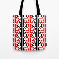 maori Tote Bags featuring  Maori Kowhaiwhai Traditional Pattern  by mailboxdisco
