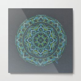 Blue and Green Mandala Metal Print