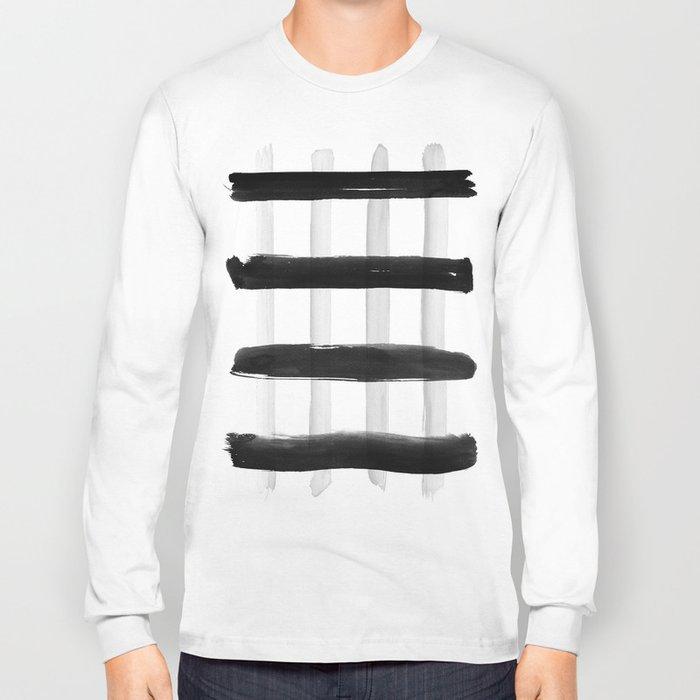 Black and White Brush Strokes Long Sleeve T-shirt
