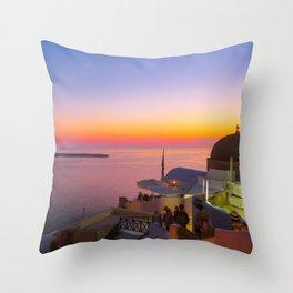 Sunset in Oia,Santorini Throw Pillow