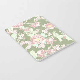 Cherry Blossom and Bird Happiness in Sage Green Notebook