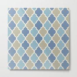 Colorful Quatrefoil Lattice Pattern 140 Blue and Beige Metal Print