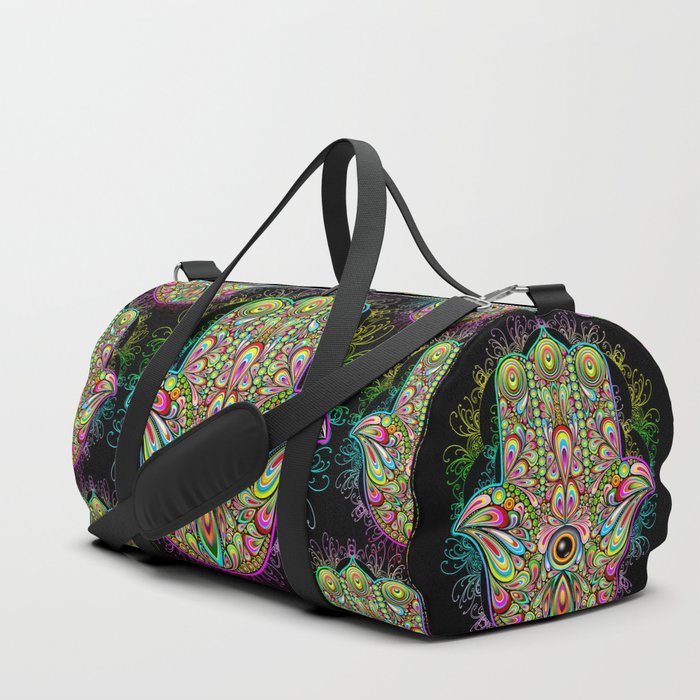 Hamsa Hand Amulet Psychedelic Duffle Bag