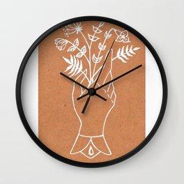 Victorian Hand Motif — Victorian Hand Holding Wildflower Bouquet — Antique Botanical Motif Wall Clock