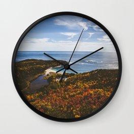 Autumn Forest Meets Ocean Wall Clock