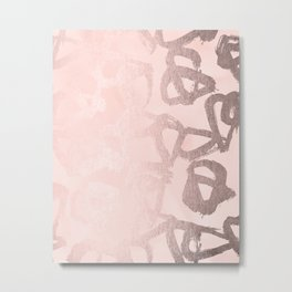 Rose Gold Pastel Pink Geometric Triangles Metal Print