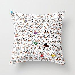 Panda among snowmen Throw Pillow
