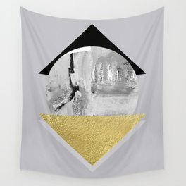 Geometric monochromatic shapes with gold triangle Wall Tapestry