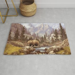 Grizzly Bear Landscape Rug