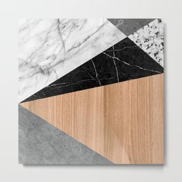 Marble, Garnite, Teak Wood Abstract Metal Print