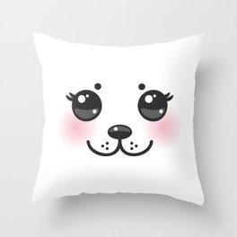 Kawaii funny albino animal white muzzle with pink cheeks and big black eyes Throw Pillow