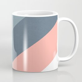 Vertical Chevron Pattern - Teal, Coral and Dusty Blues #geometry #minimalart #society6 Coffee Mug