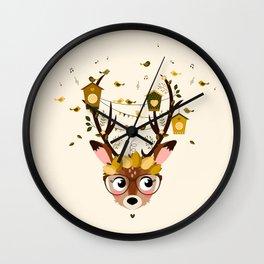 Biche et cabanes à oiseaux (jaune) Wall Clock