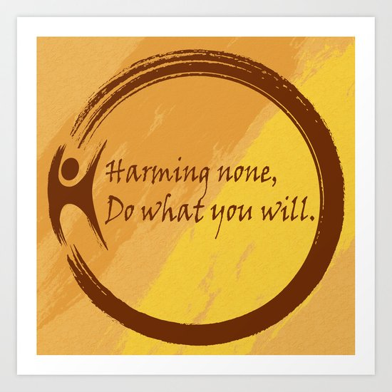 Harming None Do What You Will Color Background Art Print