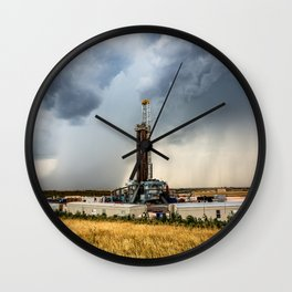 Nevermind the Weather - Oil Rig and Passing Storm in Oklahoma Wall Clock